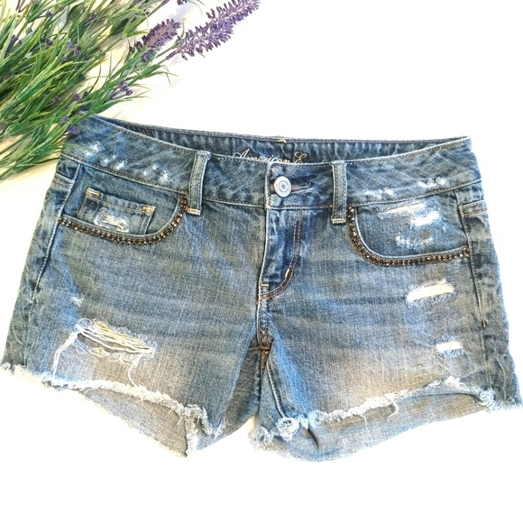 American Eagle Outfitters Pants - American Eagle Distressed Denim Shorts Size 4